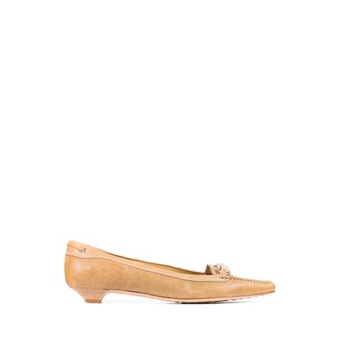 Car Shoe By Prada Women's Tan Leather Braided Pointed Toe Loafers 37/US7~RTL$550