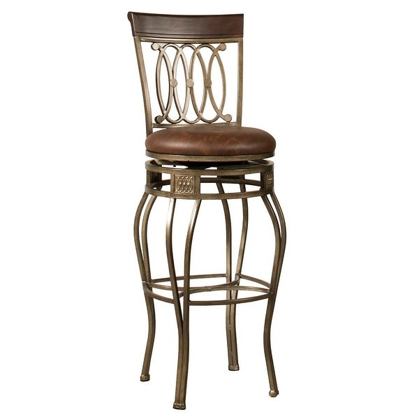 Hilale Furniture 41545h Montello 20 Inch Wide Wood Bar Stool With Vinyl Uphol Old Steel