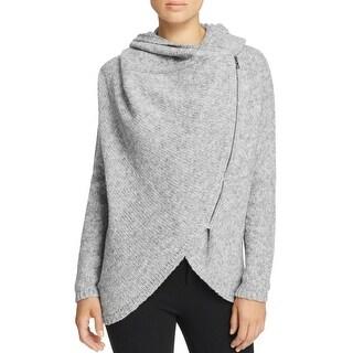 T Tahari Womens Vivian Full Zip Sweater Asymmetric Knit