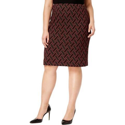 Kasper Womens Pencil Skirt Jacquard Knee-Length