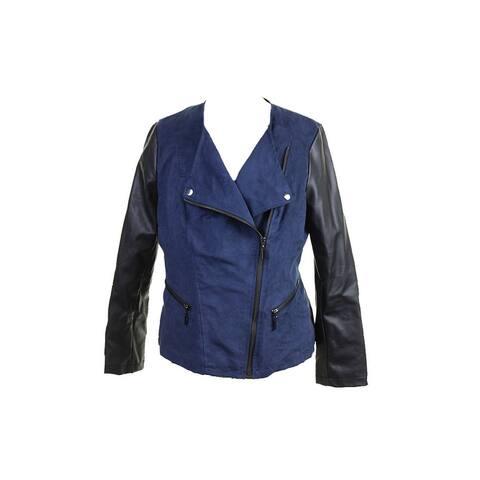 Alfani Navy Faux-Suede Mixed-Media Moto Jacket S