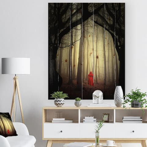 Designart 'Woman in the enchanted forest' Forest People Photographic Print on Natural Pine Wood - Black