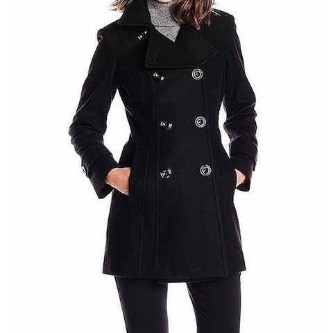 Anne Klein Black Women's Size Large L Double-Breasted Coat Wool