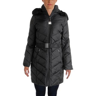 DKNY Womens Down Faux Fur Parka