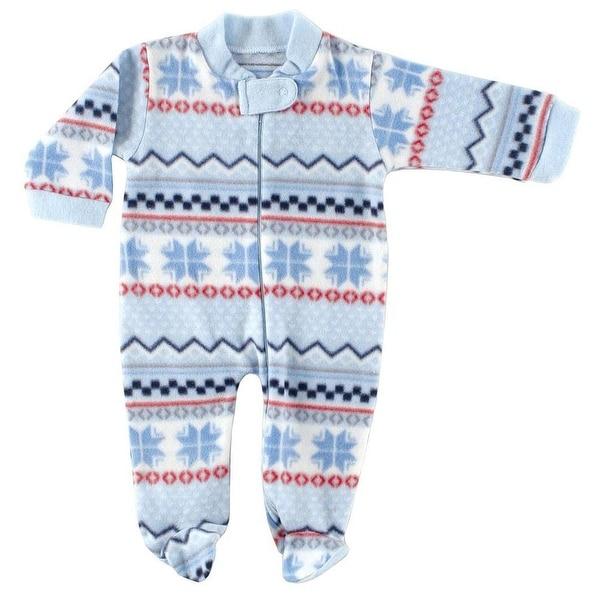 Hudson Baby Boys 0-9 Months Fleece Sleep N Play - Blue