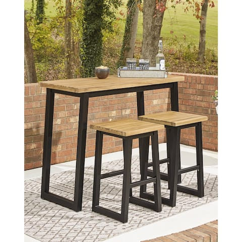 Town Wood Brown/Black Counter Table Set, 3 Count