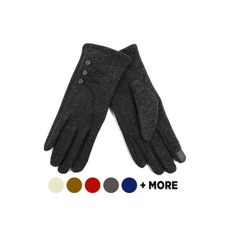 Women's Stylish Touch Screen Gloves with Button Accent & Fleece Lining