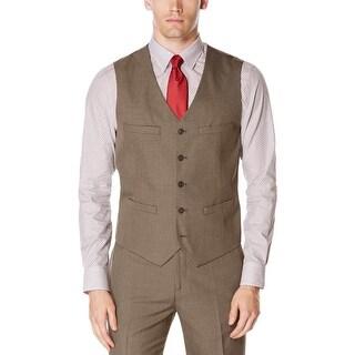 Perry Ellis Mens Suit Vest Pinpoint Adjustable Waist