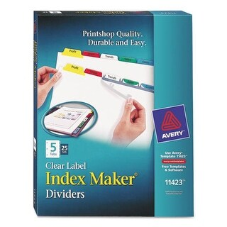 Avery-Dennison Print & Apply Clear Label Dividers With Color