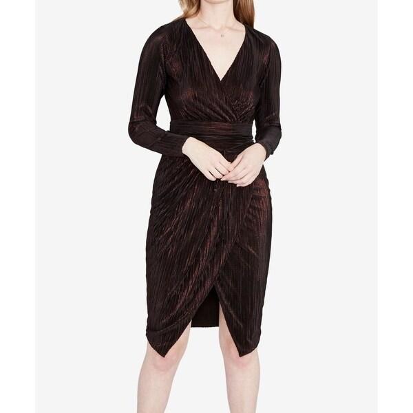 Rachel Rachel Roy Womens Small Surplice Shimmer Sheath Dress
