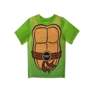 Nickelodeon Little Boys Green TMNT Logo Print UPF 50+ Rash Guard
