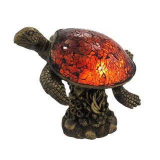 Beautiful Swimming Brown Sea Turtle Crackle Glass Lamp