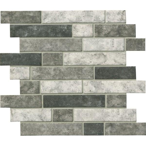 "MSI SMOT-GLSIL-U6MM 11-13/16"" x 11-13/16"" Linear Mosaic Sheet - Glossy Glass Visual - Sold by Carton (14.55 SF/Carton)"