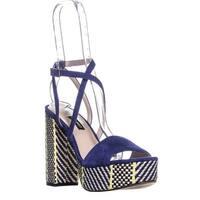 Nine West Markando Block Heel Platform Strappy Sandals, Dark Blue - 8.5 us