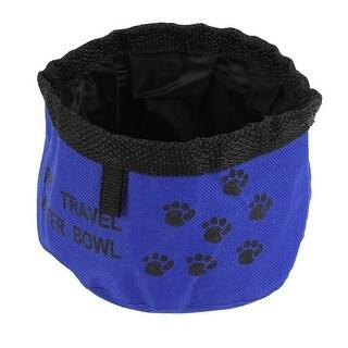 Unique Bargains Blue Black Cat Dog Paw Pattern Foldable Portable Feeder Bowl Water Dish