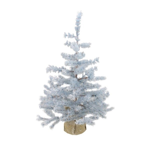 3' Winter Light Frosted Blue Pine Artificial Christmas Tree with Burlap Base - Unlit
