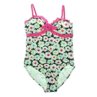 Breaking Waves Girls French Daisy Floral Print Ruffled One-Piece Swimsuit (4 options available)