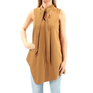 Womens Brown Sleeveless Tie Neck Top Size XS