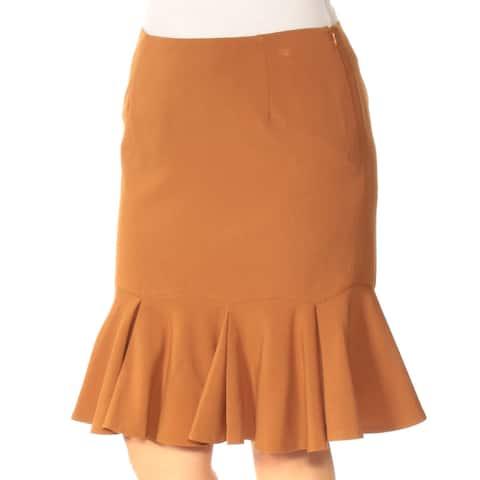 NINE WEST Womens Brown Knee Length Drop Waist Wear To Work Skirt Size: 4