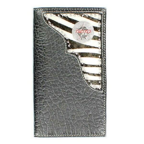 PBR Western Wallet Mens Rawhide Leather Rodeo Zebra Black - One size