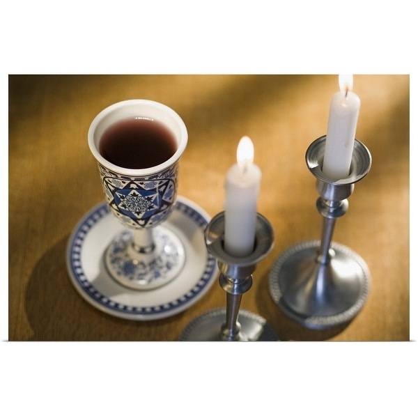 """""""Cup of wine next to candles"""" Poster Print"""