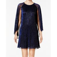 Calvin Klein Womens Cape Glitter Ombre Shift Dress