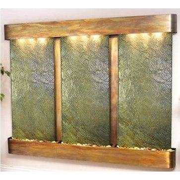 Adagio Deep Creek Falls Fountain w/ Green Natural Slate in Rustic Copper Finish