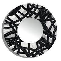 Statements2000 Black/Silver Metal Wall Mirror Art Accent Decor by Jon Allen - Mirror 108 - Black