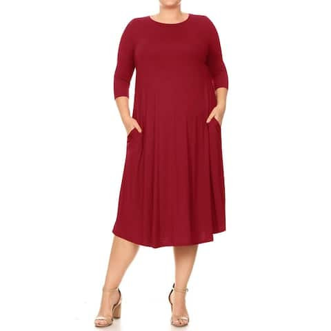 Women's Solid Casual Relaxed A-Line Midi Dress