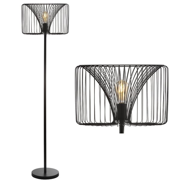 """Gridley 61"""" Metal LED Floor Lamp, Black by JONATHAN Y - 61"""" H x 16"""" W x 16"""" D. Opens flyout."""