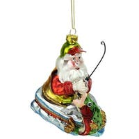 "4.5"" Catch of the Day Santa Claus Fishing on Boat Glass Christmas Ornament - multi"