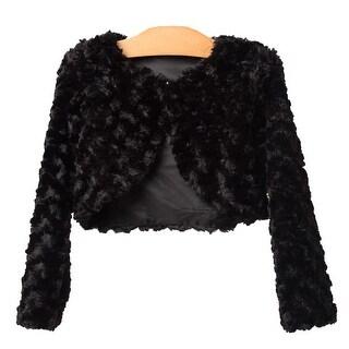 Baby Girls Black Swirl Faux Fur Button Shrug Bolero 6-24M