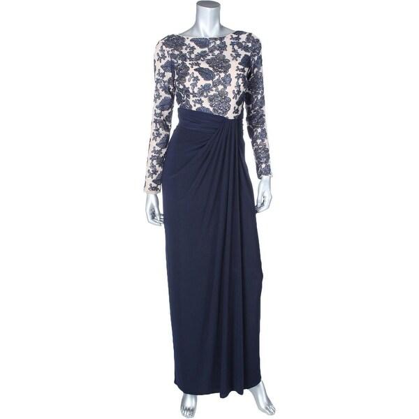 Lauren Ralph Lauren Womens Evening Dress Matte Jersey Embroidered