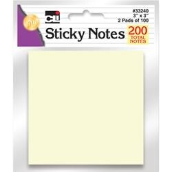 """Pale Yellow - Sticky Notes 3""""X3"""" 2/Pkg"""