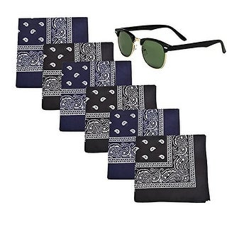 Mechaly Paisley 100% Cotton Bandanas - 6 Pack & 1 Pair of Square Club Master Sunglasses