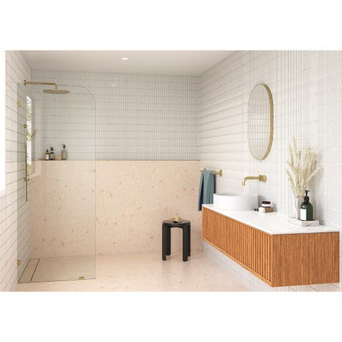 "Glass Warehouse 34"" x 78"" Frameless Shower Door - Single Fixed Panel Radius"