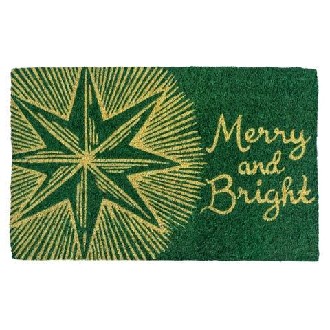 Williamsburg Merry and Bright Star Handwoven Coconut Fiber Doormat