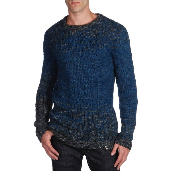 Diesel Colamba Crewneck Sweater Large L Ink Blue and Gray Thick Wool Blend