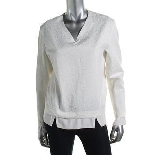 Thakoon Addition Womens Jacquard Silk Trim Pullover Top - 4