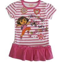 Nickelodeon Little Girls Pink Stripe Dora The Explorer Print Ruffle Top 2-4T