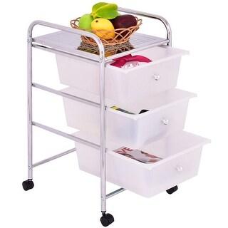 Costway 3 Drawers Metal Rolling Storage Cart Scrapbook Supply U0026 Paper Home  Office White