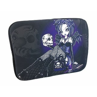 Purple/Black `Gabriella` Gothic Fairy Holding Skull Tablet Sleeve