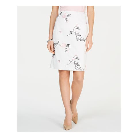 KASPER Womens White Floral Above The Knee Pencil Skirt Size 16
