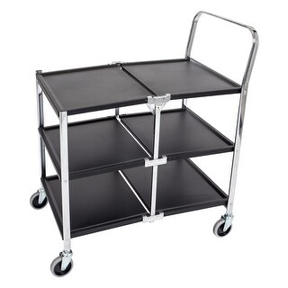 Offex Three-Shelf Collapsible Metal Utility Cart