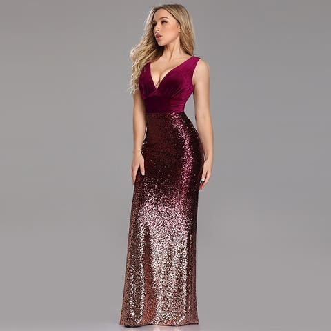 c0755beb686e Ever-Pretty Women's Bodycon V-Neck Velvet Sequin Formal Evening Party Dress  07767