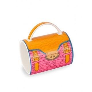 "5"" Fashion Avenue Orange and Pink Crocodile Pattern Ceramic Handbag Mug"