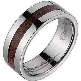 Titanium Wedding Band With Koa Wood Inlay & Wide Edges 8 mm