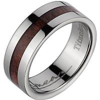 Titanium Wedding Band With Koa Wood Inlay & Wide Edges 8 mm