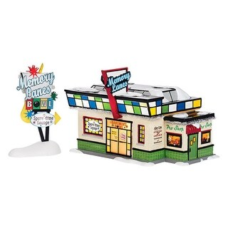 "Department 56 Snow Village ""Memory Lanes Bowling"" Lighted Building Set #4036567"