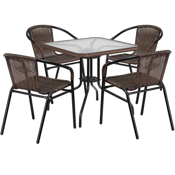 Carson Square 28'' Glass Metal Table w/Dark Brown Rattan Edging and 4 Rattan Stack Chairs for Restaurant/Bar/Pub/Patio